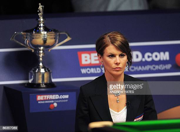 Female referee Michaela Tabb takes charge of the World Championship Snooker final between Scotland's John Higgins and Britains Shaun Murphy at the...