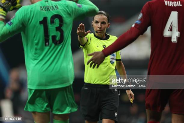 Female referee Stephanie Frappart of France awards a penalty during the UEFA Super Cup Final fixture between Liverpool and Chelsea at Vodafone Park...