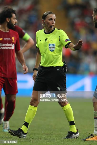 Female referee Stephanie Frappart of France during the UEFA Super Cup Final fixture between Liverpool and Chelsea at Vodafone Park on August 14 2019...