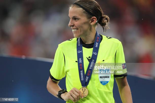 Female referee Stephanie Frappart of France with her medal during the UEFA Super Cup Final fixture between Liverpool and Chelsea at Vodafone Park on...