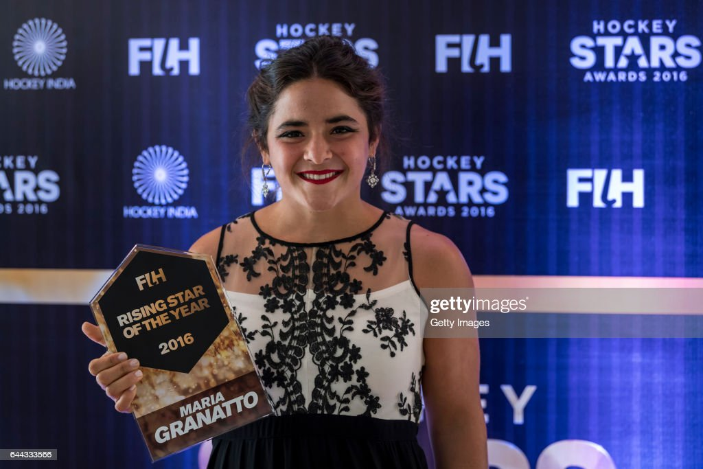 Female Rising Star of the Year Maria Granatto of Argentina poses for a picture during the FIH Hockey Stars Awards 2016 at Lalit Hotel on February 23..