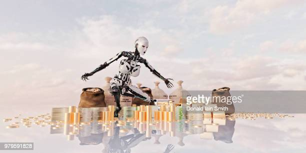 Female robot kneeling over bags of coins, cash and gold
