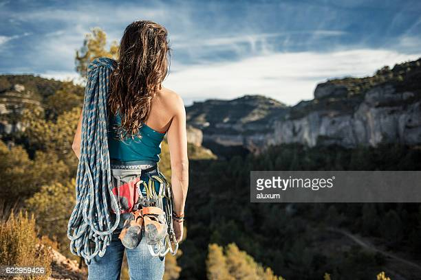 female rock climber in margalef catalonia spain - climbing equipment stock pictures, royalty-free photos & images
