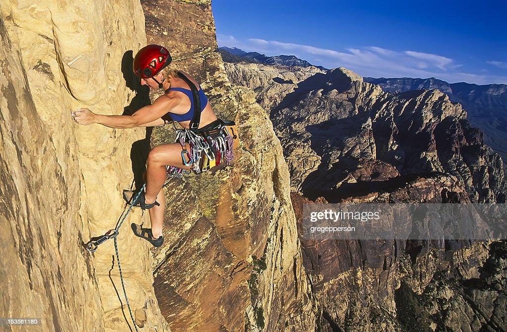 Female rock climber. : Stock Photo