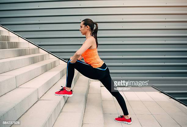Female runner exercising