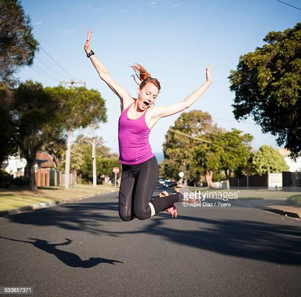 Female runner jumping