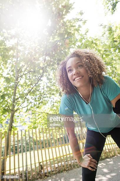 Female runner running at the park