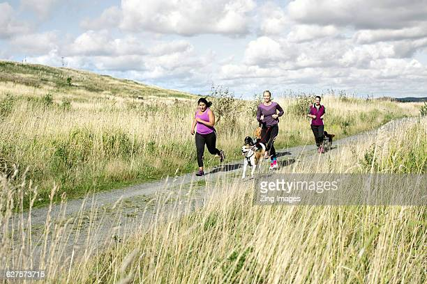Female runners with dogs