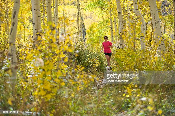 Female running in the mountains, Provo, Utah., ,