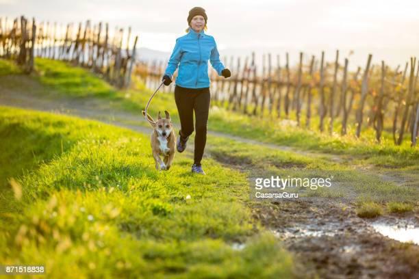 vrouw met hond - alleen één mid volwassen vrouw stockfoto's en -beelden