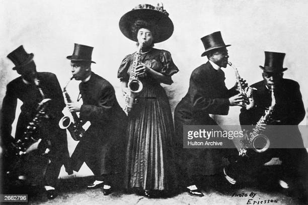 A group of musicians playing jazz music which derived from plantation work song hollers and chants into the blues and Dixieland