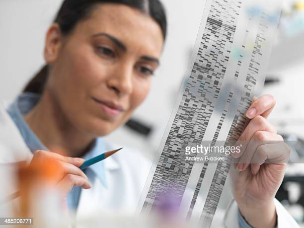 Female scientist examining DNA gel in laboratory for genetic research