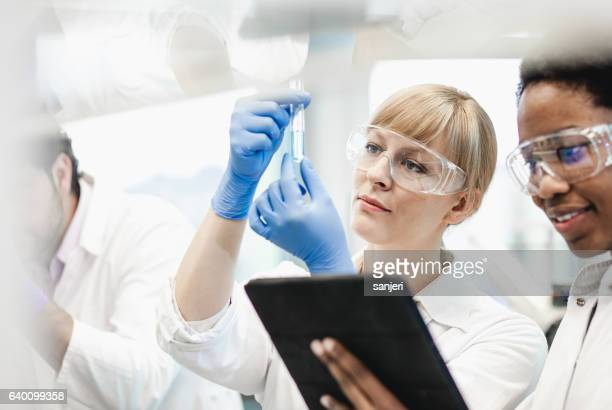 Female Scientist Looking at Test Tube With Colleagues Beside Her