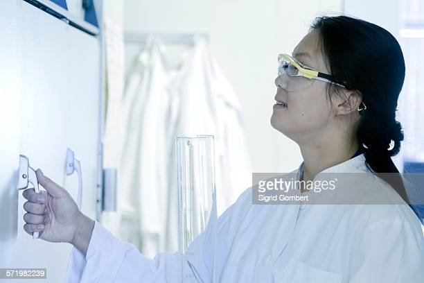 female scientist opening sample cupboard in laboratory - sigrid gombert stock pictures, royalty-free photos & images