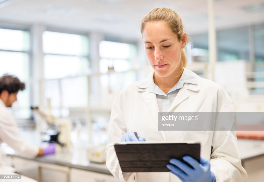 Female scientist working in the lab : Stock Photo