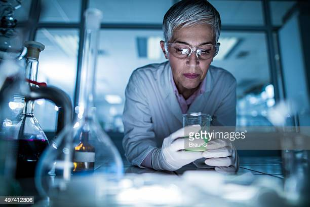 Female scientist working on a new scientific experiment.