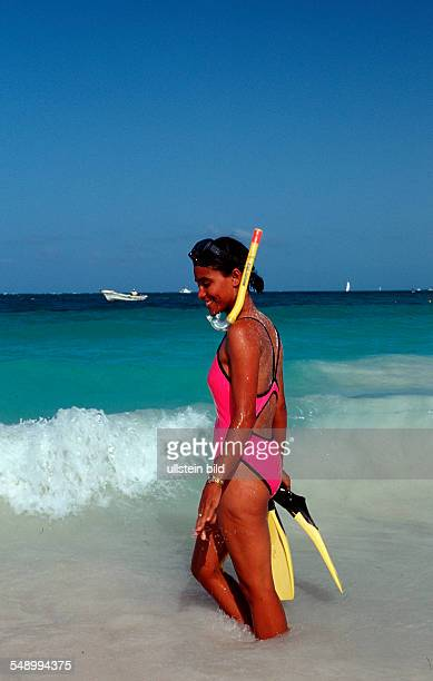 Female scin diver in the sea, Punta Cana, Caribbean, Dominican Republic