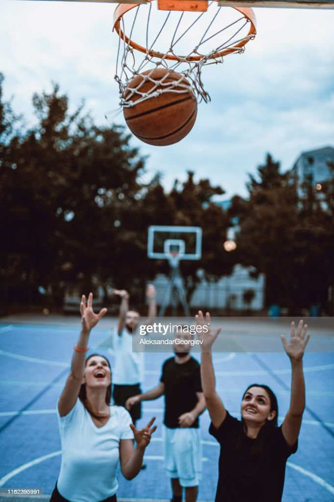 Female Scoring During Basketball Game Between Couples High Res Stock Photo Getty Images