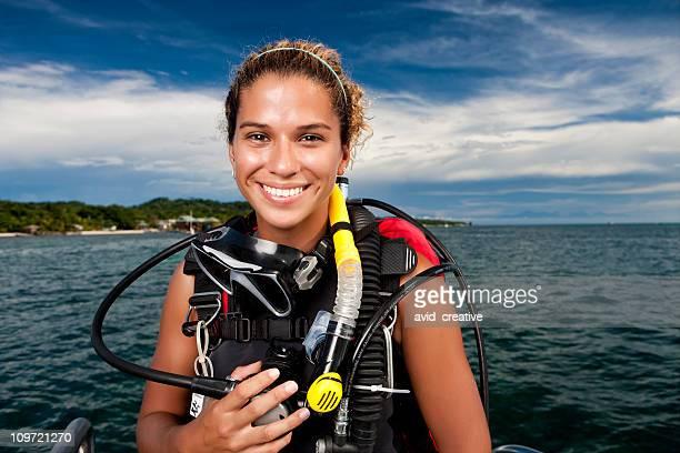 Retrato feminino de mergulhador
