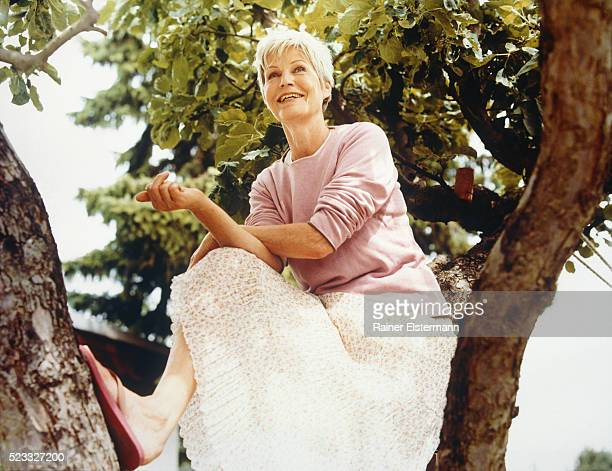 female senior sitting in tree - older women in short skirts stock pictures, royalty-free photos & images