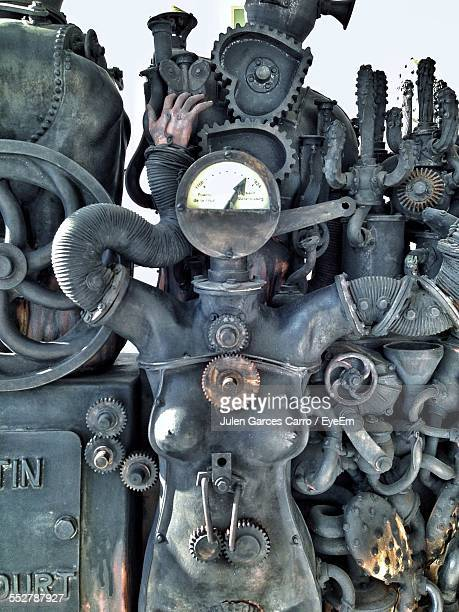 female shape made up of old machines - female likeness stock pictures, royalty-free photos & images