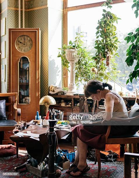 Female Shoemaker working
