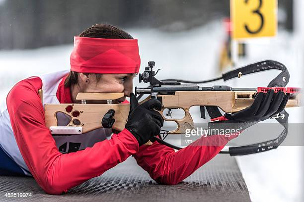 Female shooting at biathlon training