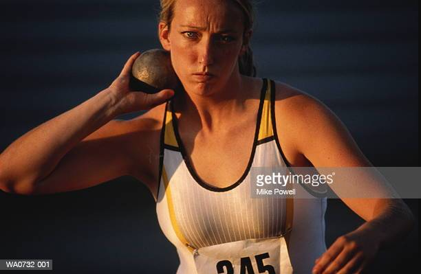 female shot-putter,  close-up - shot put stock pictures, royalty-free photos & images