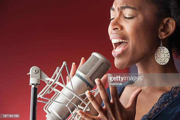 Female Singer Recording Vocals