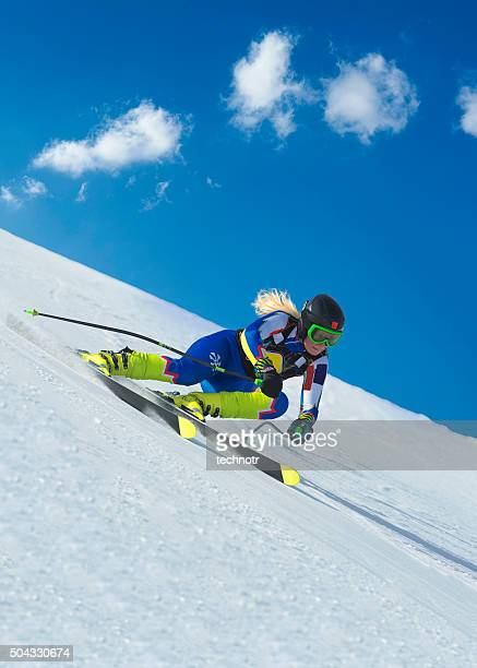Female Skier at Straight Downhill Ski Race