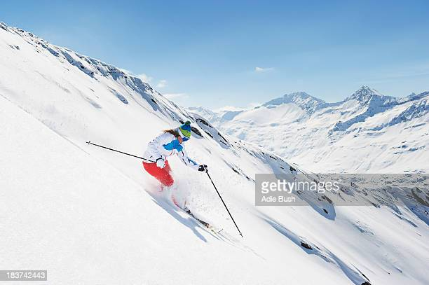 Female skier in action