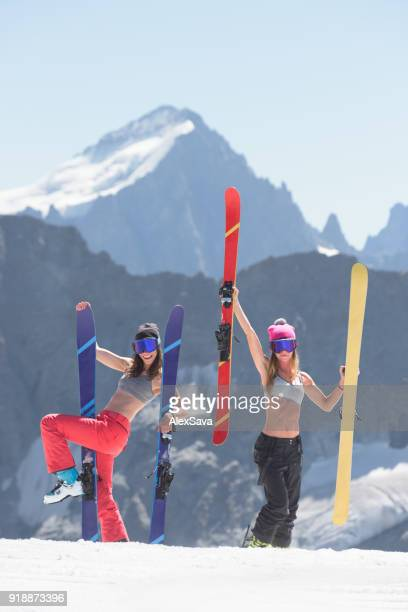 Female skiers having fun on a sunny day in Les Deux Alps
