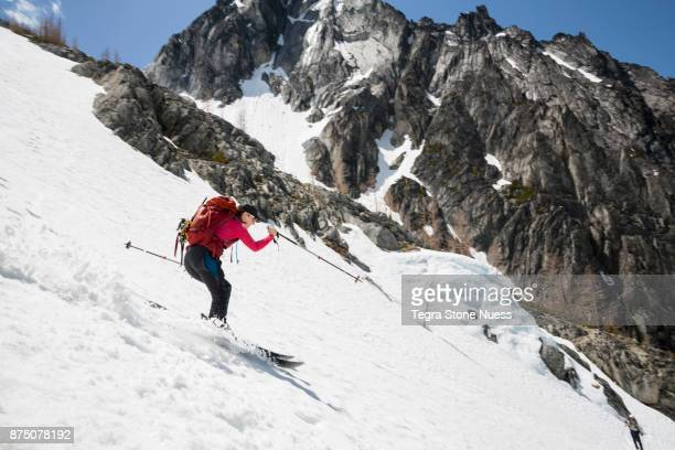 Female Skiing in the Backcountry