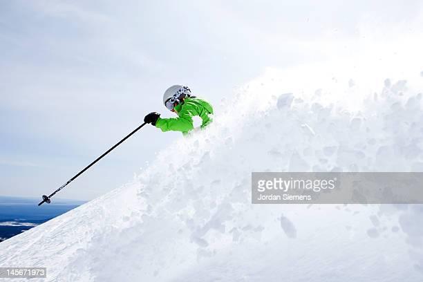 A female skiing.