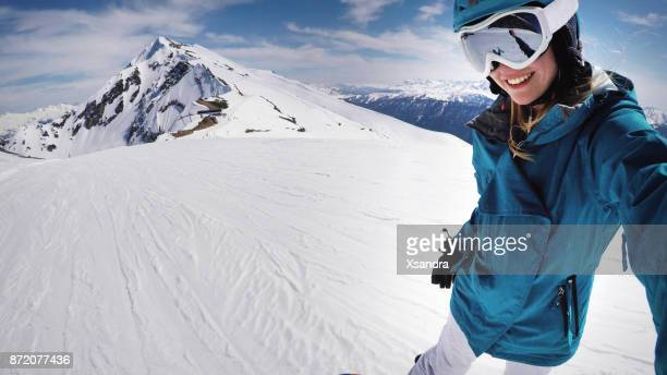 female snowboarder selfie - sochi stock pictures, royalty-free photos & images