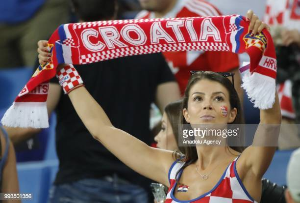A female soccer fan is seen during the 2018 FIFA World Cup Russia quarter final match between Russia and Croatia at the at the Fisht Stadium in...