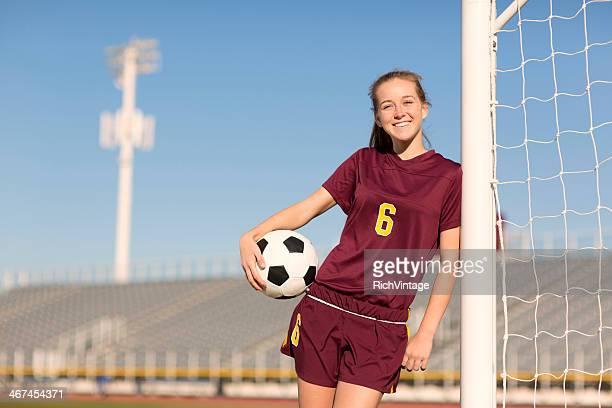 female soccer player - sportuniform stockfoto's en -beelden