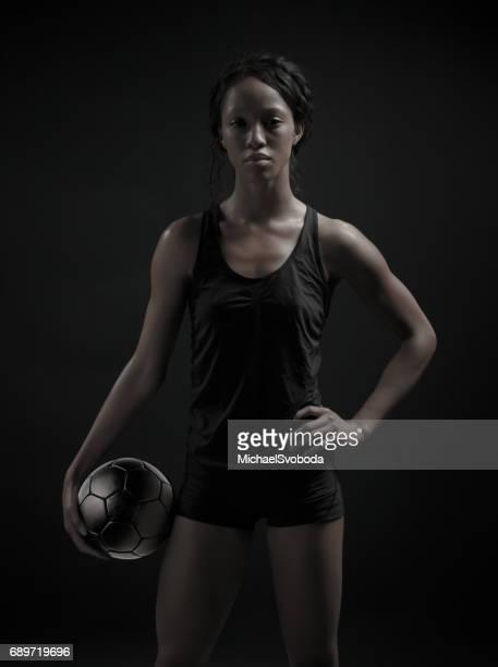 Female Soccer Player Posing