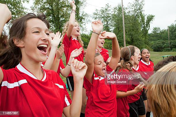 female soccer players cheering - chatham new york state stock pictures, royalty-free photos & images