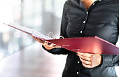 Female social worker, detective or business woman reading files in open folder. Accountant, investigator or adoption counselor. Volunteer in voluntary work.
