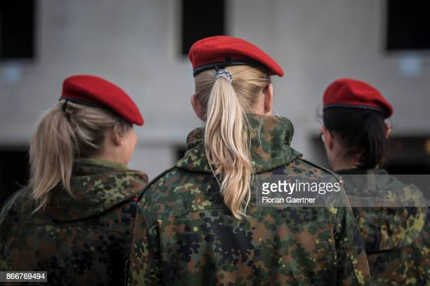 Female soldiers are pictured from behind on October 26 2017 in Schnoeggersburg Germany