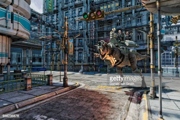 Female soldiers saddled up to ride combat dinosaur in streets of futuristic city