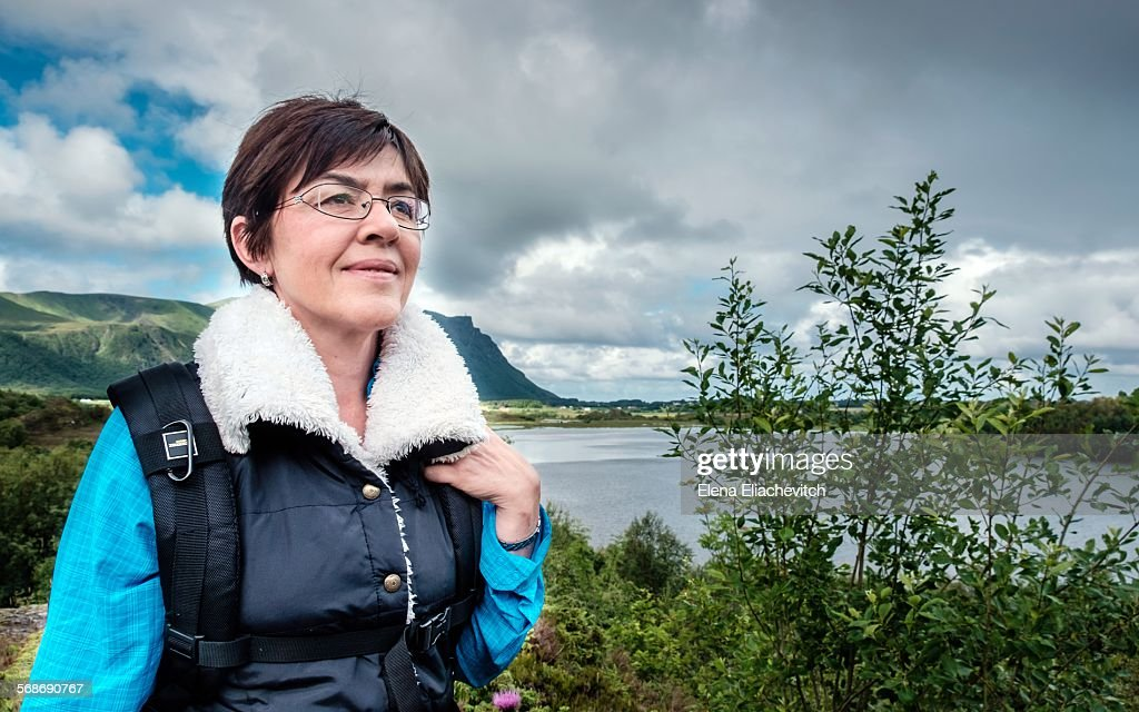 Female solo traveler in Norway : Stock Photo