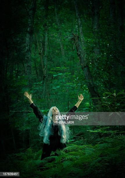 Sorcier femme dans les bois