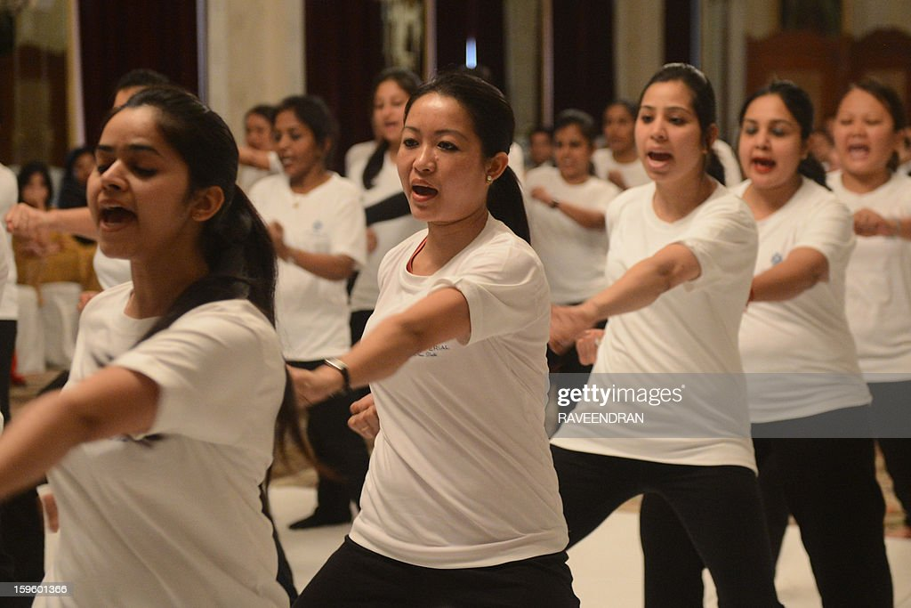 Female staff from the Imperial Hotel perform moves during a self-defence class led by Delhi Police in New Delhi on January 17, 2013. After One-month of lurid reporting on a horrifying gang-rape and murder of a student in New Delhi, women in the Indian capital say they are more anxious than ever, leading to a surge in interest in self-defence classes.