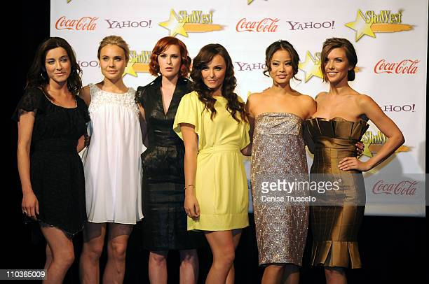 Female Stars of the Tomorrow Margo Harshman, Leah Pipes, Rumer Willis, Briana Evigan, Jamie Chung and Audrina Patridge poses for photos in the press...