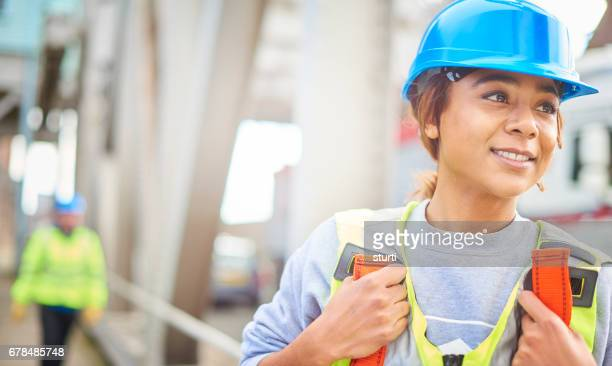 female steel engineer on site
