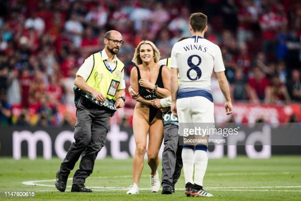 Female streaker Kinsey Wolanski during the UEFA Champions League match between Tottenham Hotspur v Liverpool at the Wanda Metropolitano on June 1...