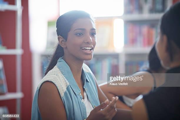 Female student having conversation