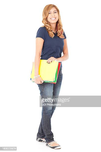 Female Student Standing With School Books, Full Body on White